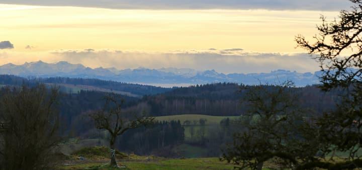 Bauernhofurlaub auf dem Sinnenberg mit Alpenblick