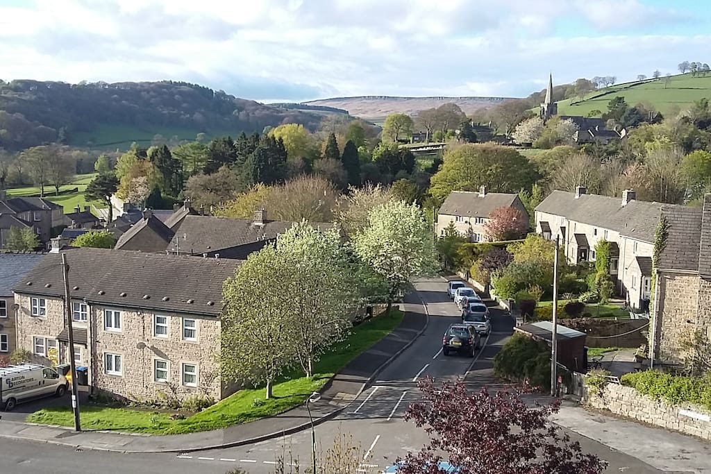 View from our house to the church & Stanage Edge
