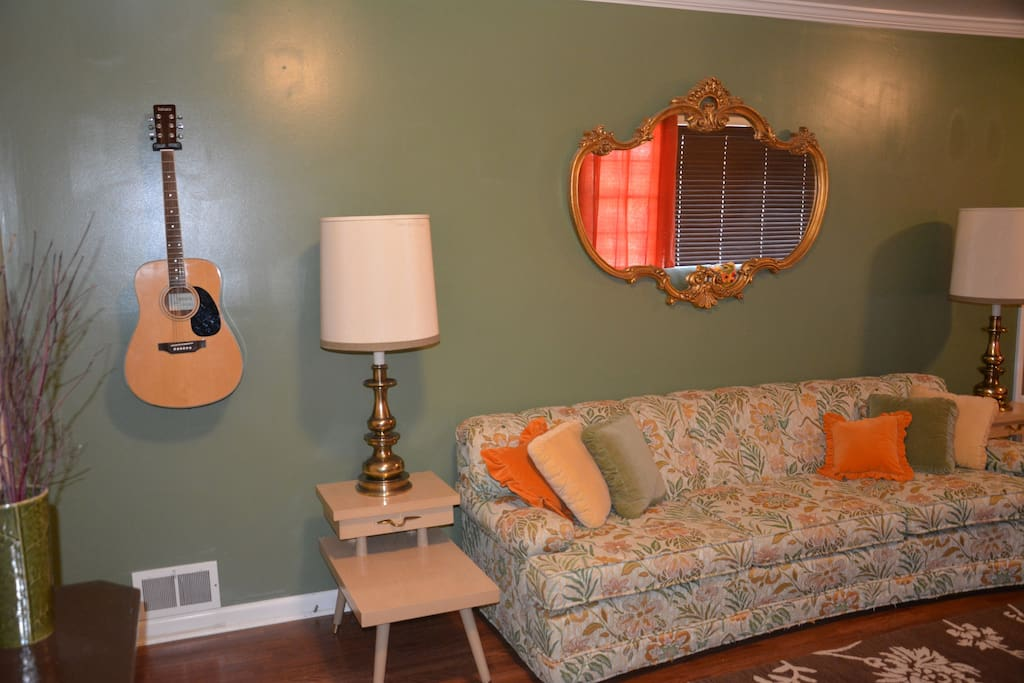 Living room - guitar for people to play.
