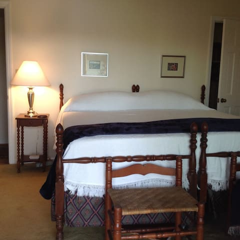 The large bedroom with king size bed.