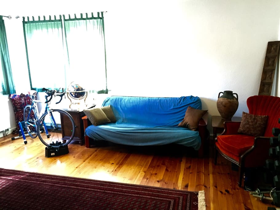 Private living room: Relaxing space for reading or working out.  Futon can be folded down to use as extra sleeping space.  Morning exercise is easy with stationary bike, dumbbells, and yoga mats.