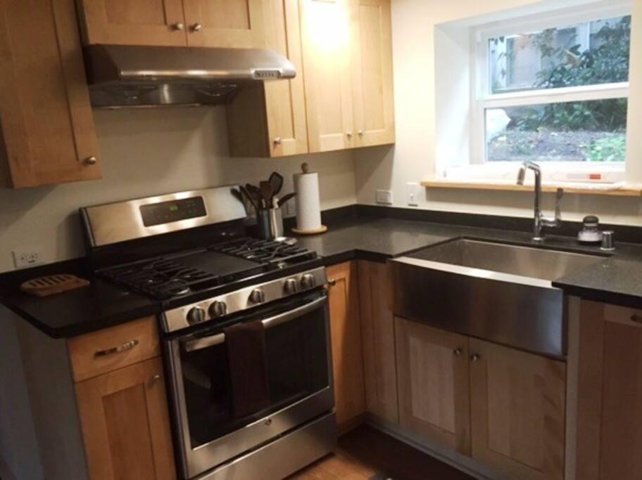 Modern kitchen with gas range.