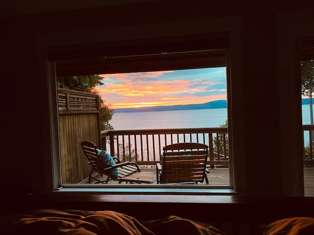 View of sunrise from the master bed