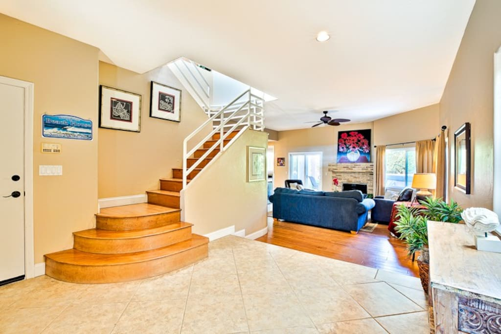 Entry way with view of living room.