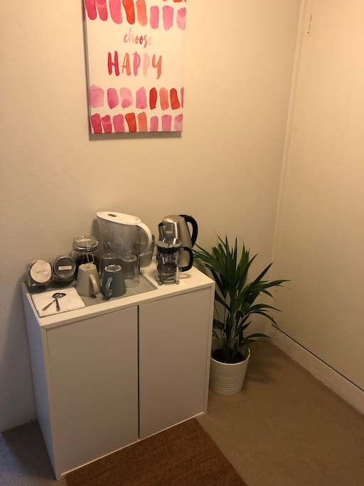 Hallway/Making a coffee & Tea.  Freshly ground and complimentary!
