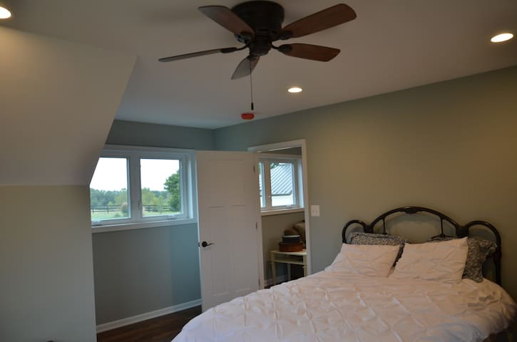 Bedroom with queen size bed.  There also is a queen sized air mattress with bedding available in the apartment if needed.