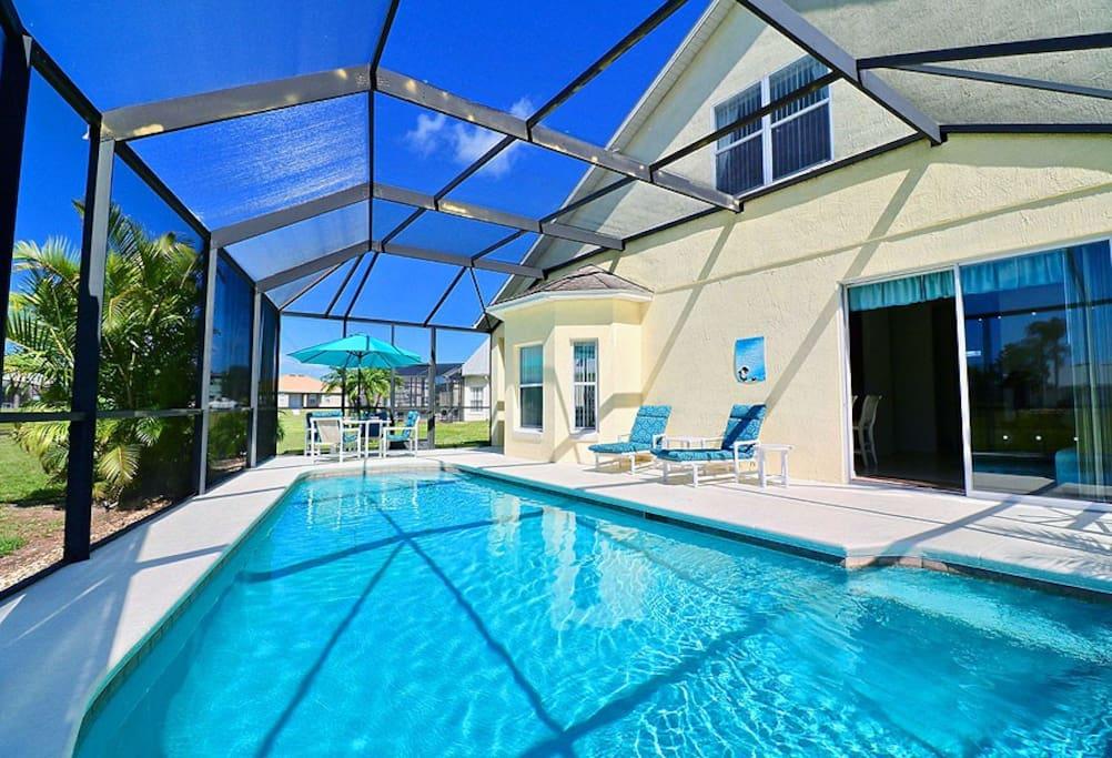 Lakefront swimming pool