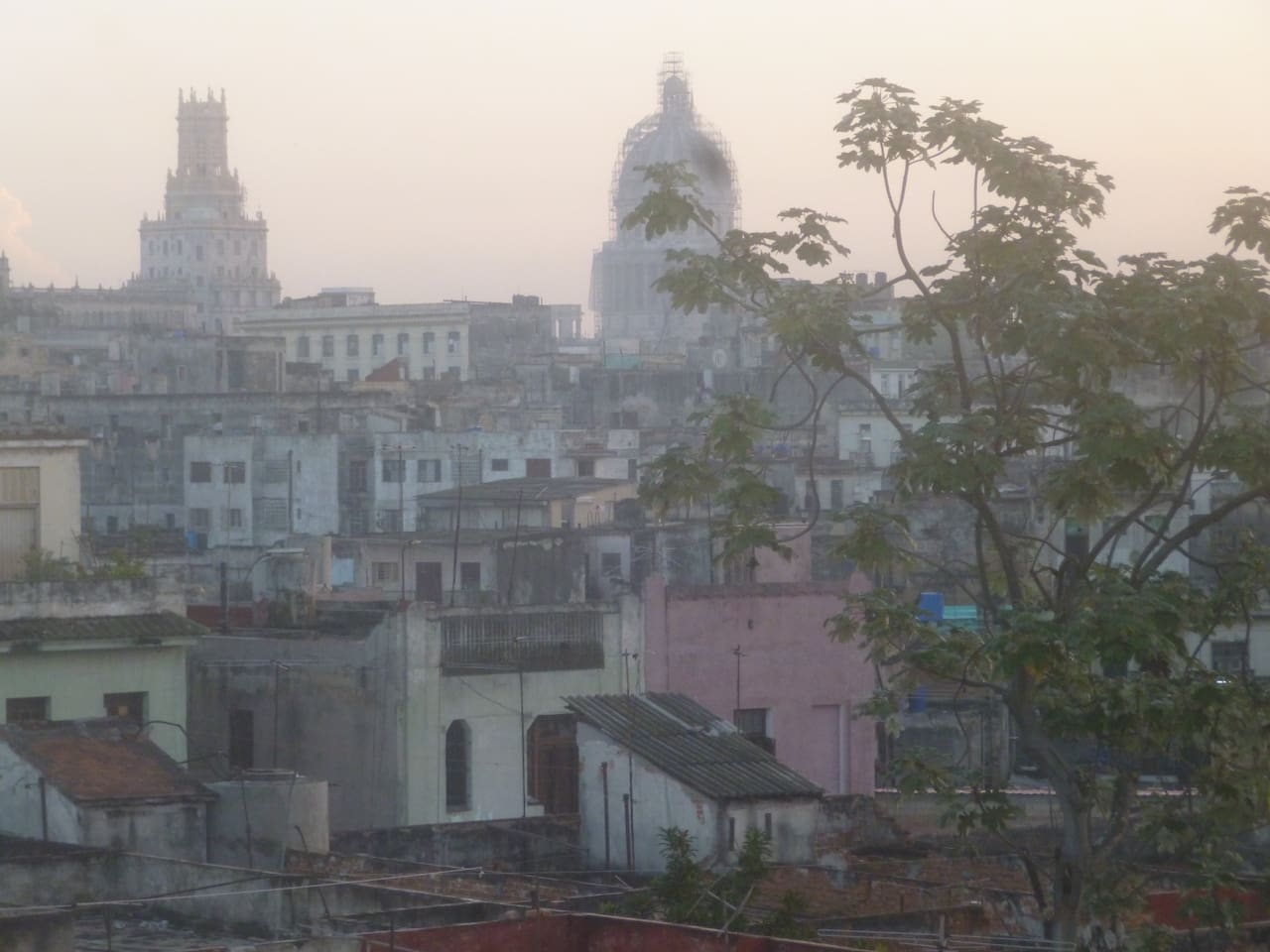 This is the view from the front balcony as sun rises over Old Havana