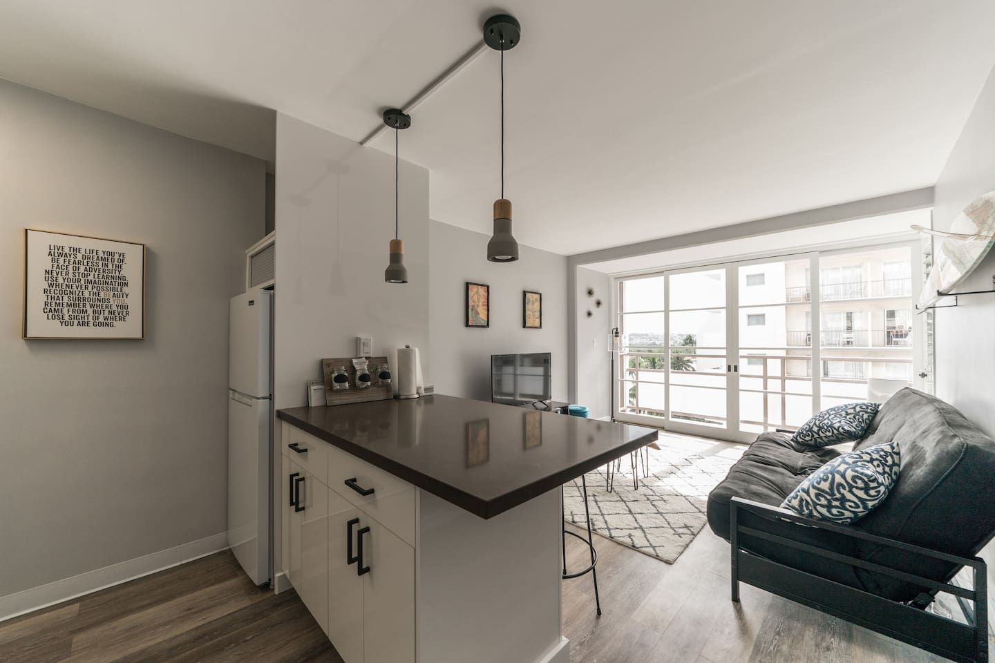 Brand new Apt.  Gorgeous updated kitchen, living room and one bedroom.  All glass windows, amazing light.  Easy living.  Couch folds out, queen bed in the room and another fold out cushion in the closet.