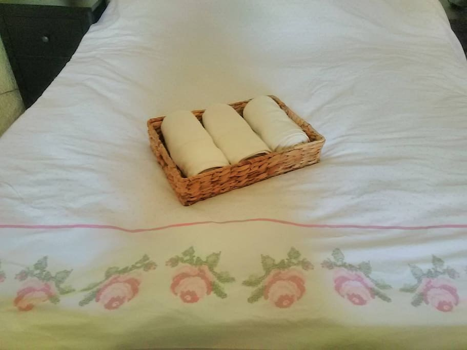 Clean bed linens and towels for our guests.