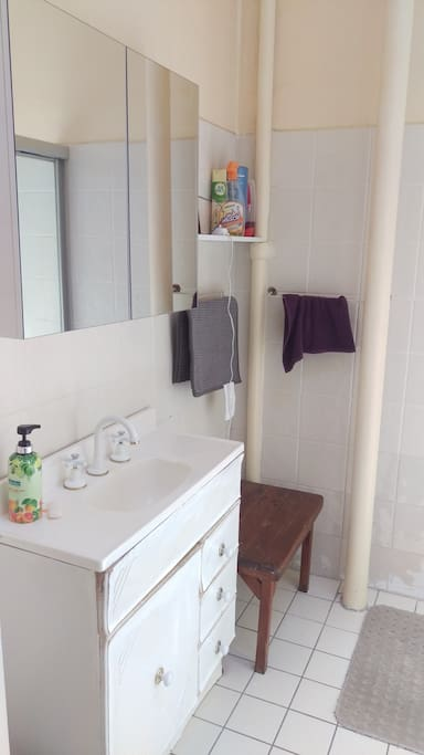 Bathroom with hot water and shelfs to keep your stuff