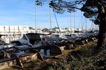 Le port est situé juste en face de la résidence.