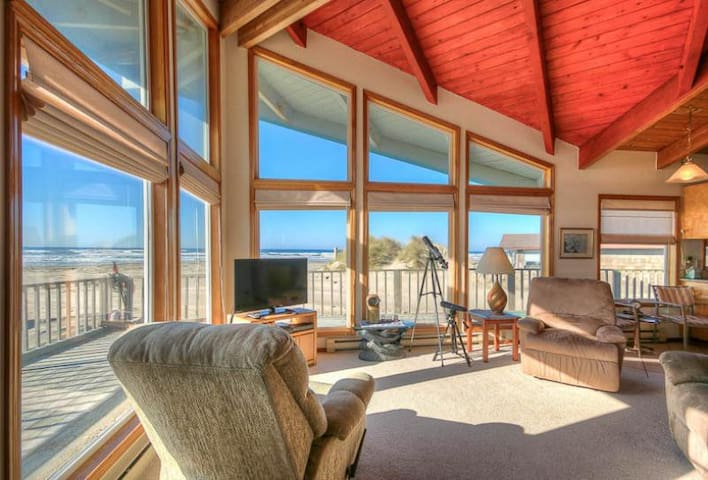 Floering House - Step Off the Deck to Sand and Surf or Enjoy the View and Ocean Light in this Oceanfront Beauty!