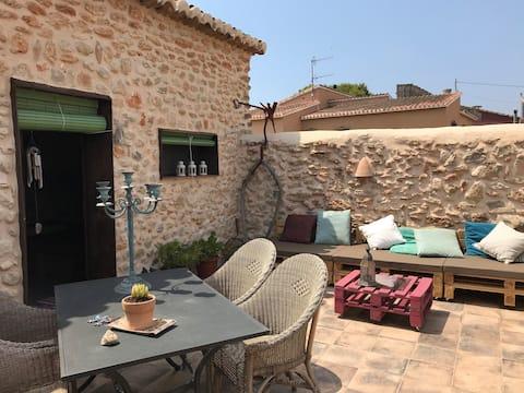 room with private patio in stone finca near Javea