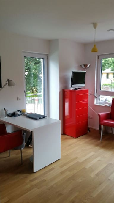Your room is equiped with a desk, TV, french balcony