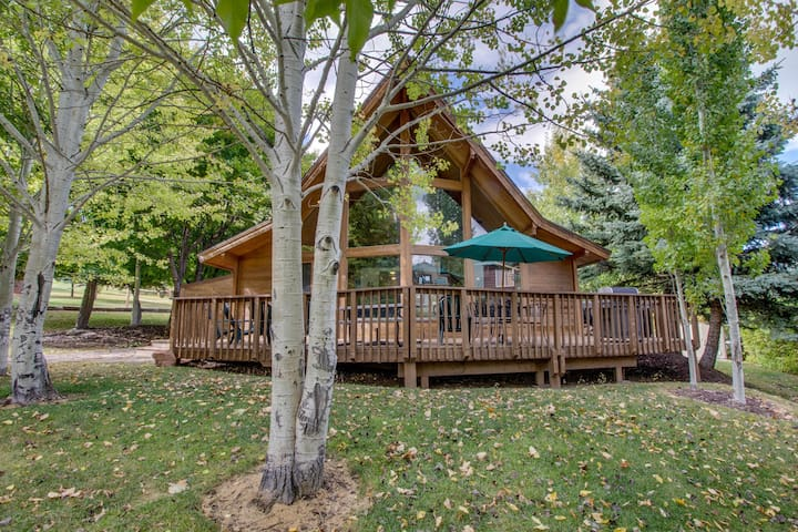 Dog-friendly cabin w/access to shared heated pool &hot tub