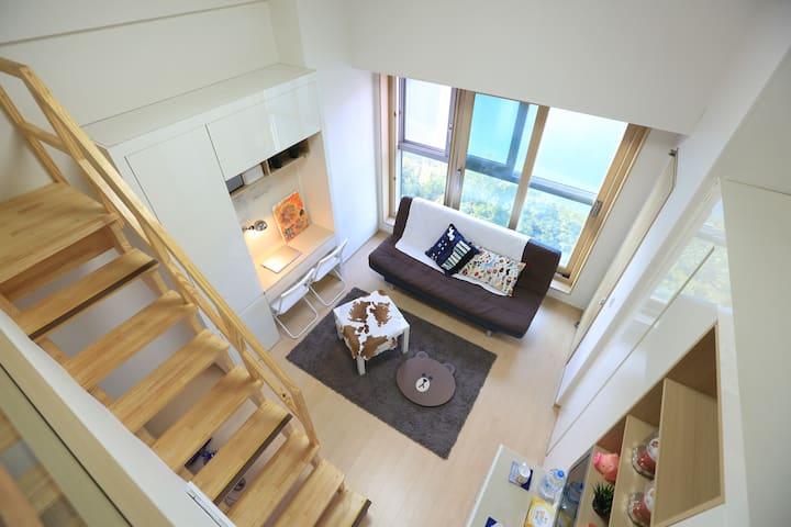 乐天世界蚕室高级复式公寓 免费移动wifi Lotte World & Lake View Loft