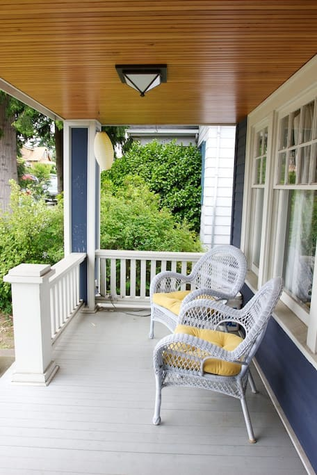Welcoming front porch perfect for morning coffee