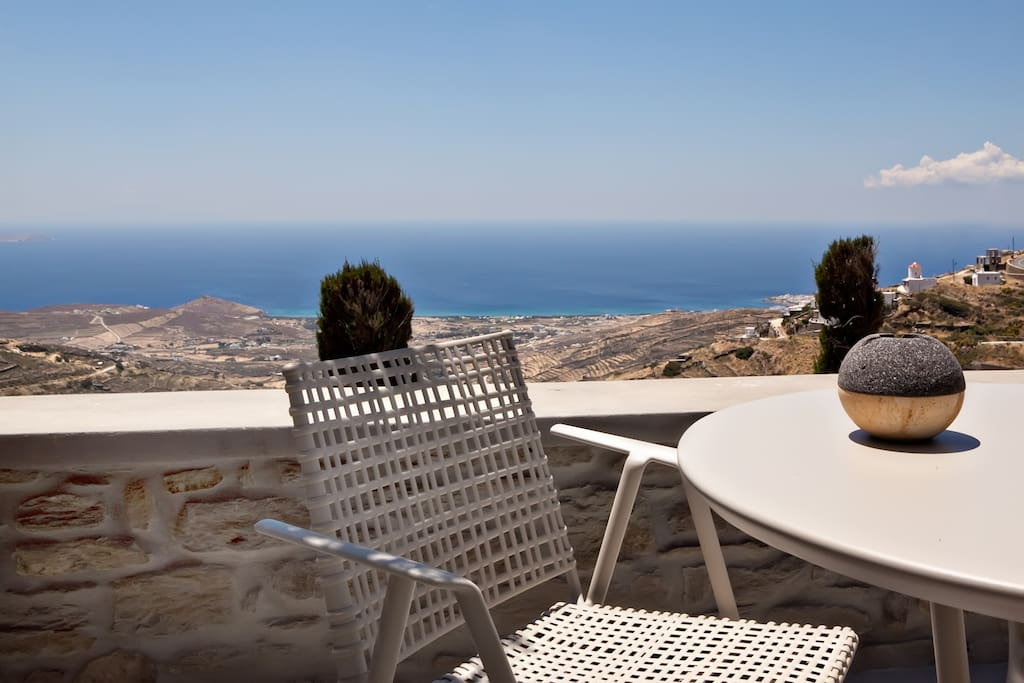 Amazing Aegean Sea and Tinos views from the Suite balcony.