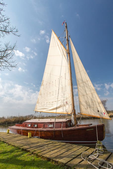 One of our 3 people boats called a Wood Rose with sails up