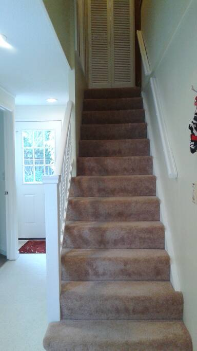 Stairs to The Loft, bathroom door on left prior to private door to back garden.