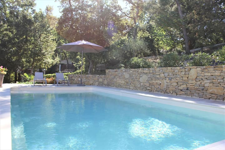 Modern gîte with pool on large property of owner, 1 km from Provençal village