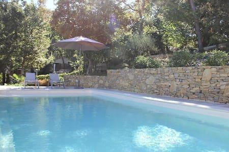 Modern gîte with pool on large property of owner, 1 km from Provençal village