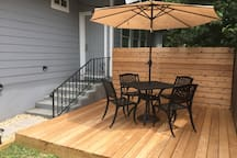 Private outdoor patio for guest use. Great place to drink a cup of coffee or tea in the morning!