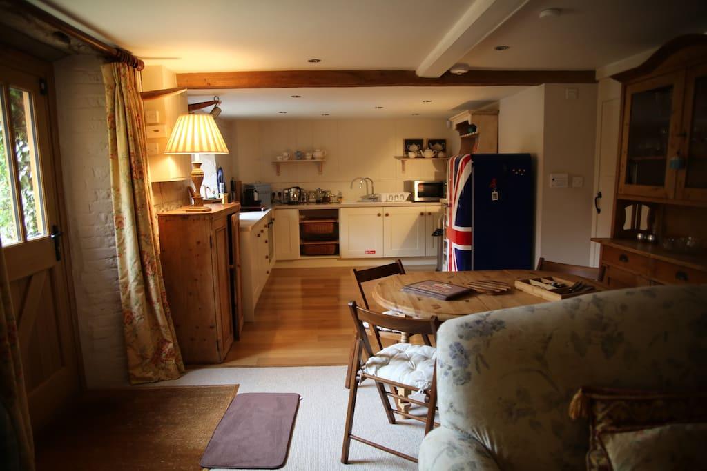 The kitchen with the union jack SMEG fridge