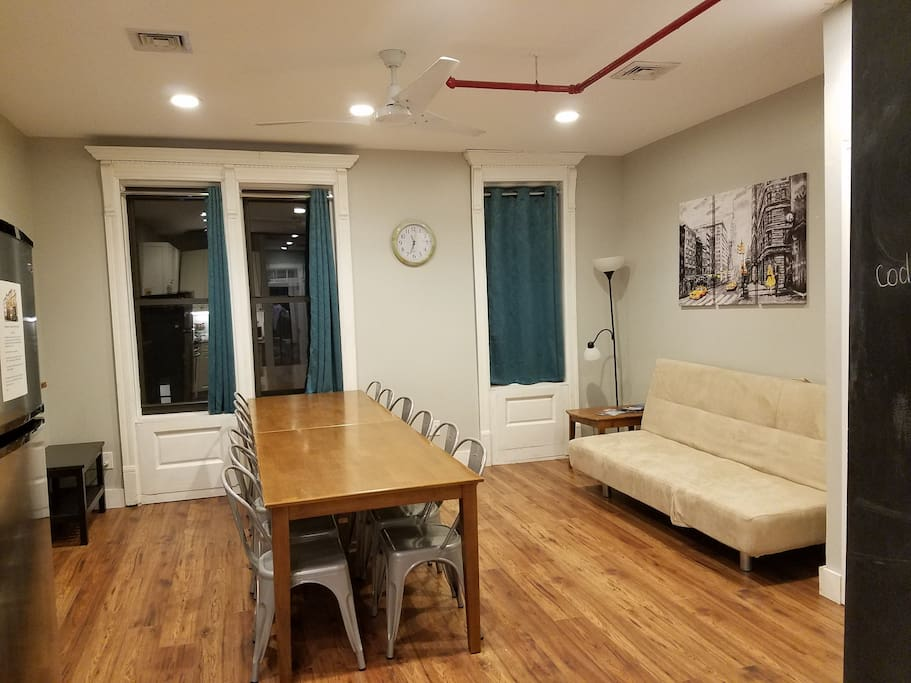 Dining area and sofabed