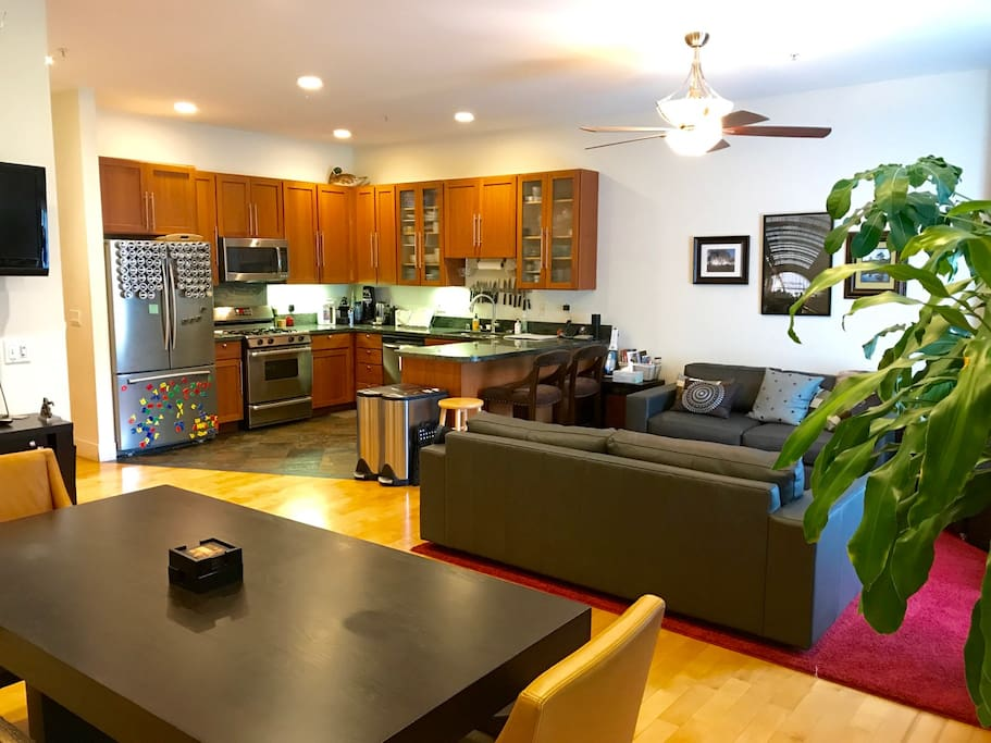 We hope you enjoy our open kitchen space, living room, and dining area as much as we do.