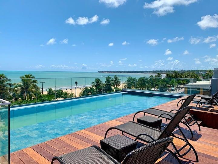 Flat pé na areia! vista para o mar Cabo Branco 506