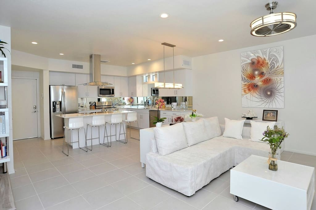 Living room and kitchen in one big open space