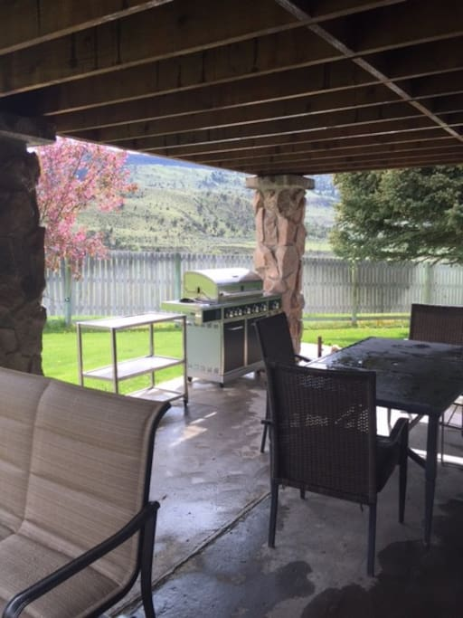 Outside seating and dining, gas grill