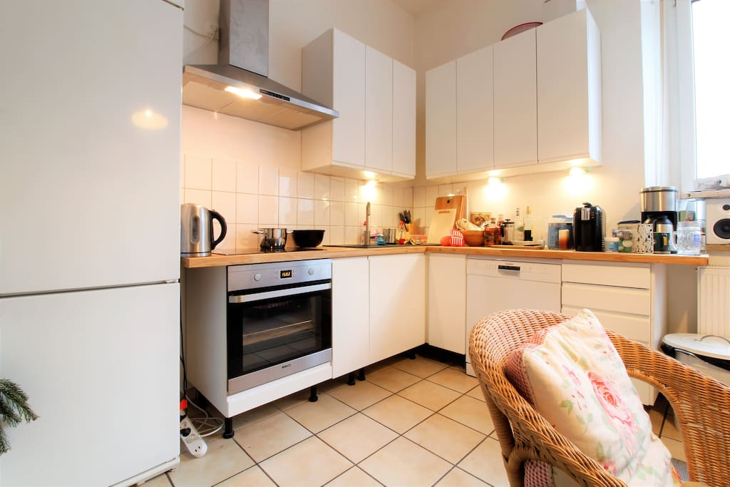 modern and fully equipped kitchen, you can cook meals or have a coffe