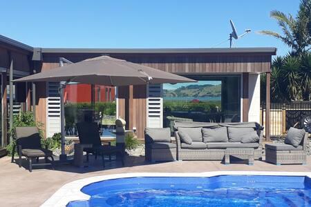Stylish sea view accommodation with pool