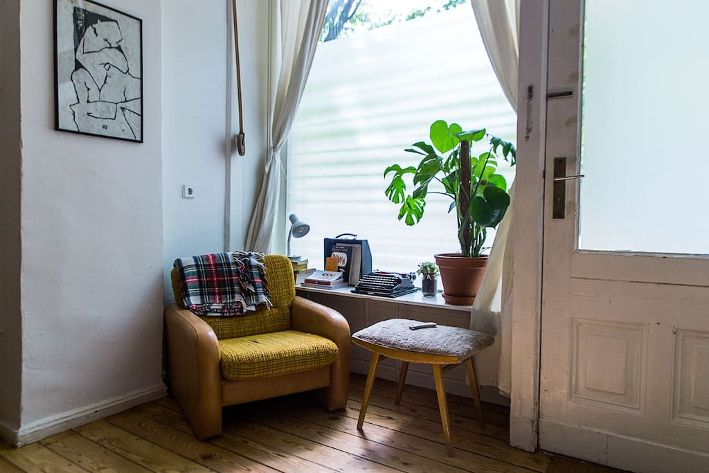 Reading corner with quirky books and magazines