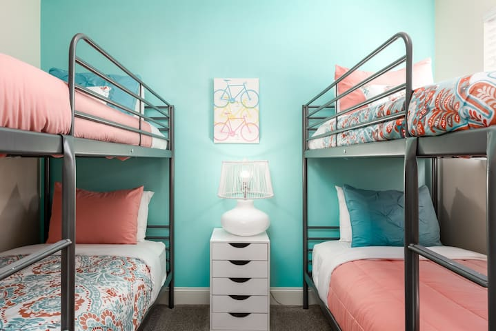 Bedroom #3 - Two sets of twin size bunk beds (upstairs)