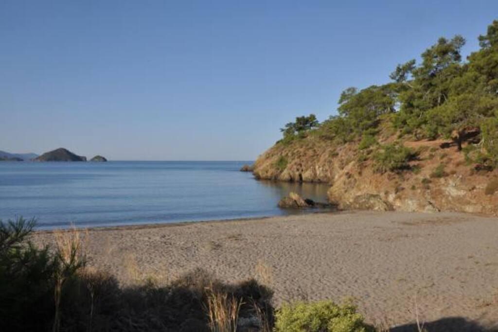 15 dakika yürüme mesafesinde bir plajımız var.