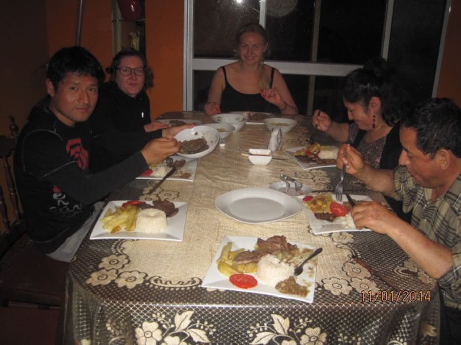 Having dinner with my family and 2 Lithuanian guests :) Me, on the left.