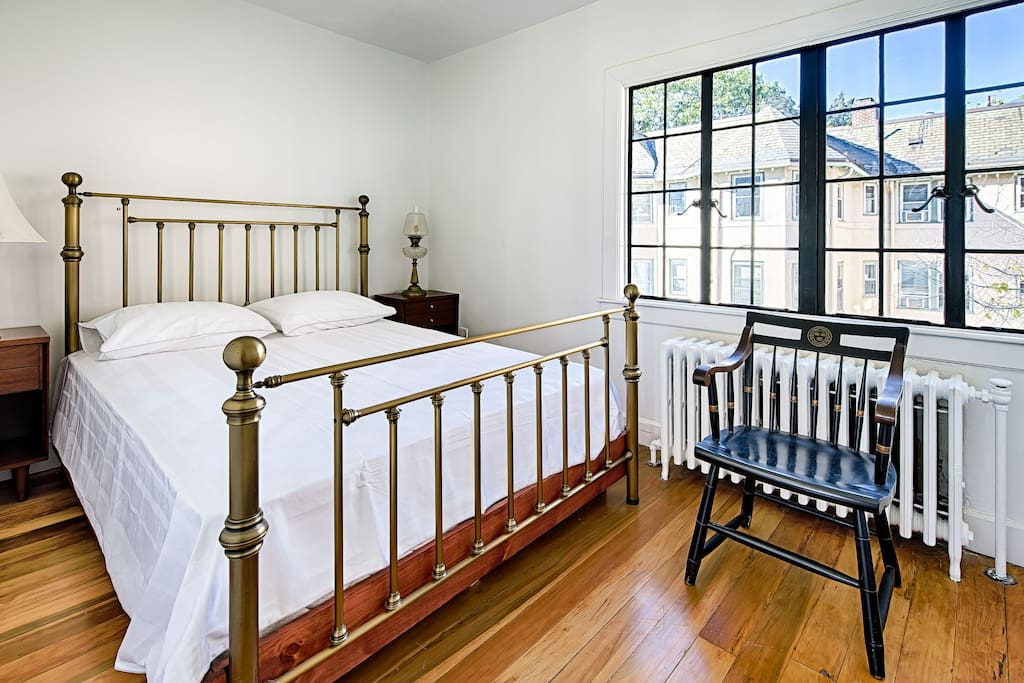 The 1st bedroom is bright and comfortable
