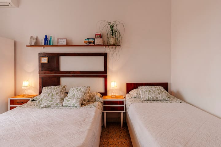 Double bed size: 1´35 cms. x 1,90 cms. Single bed size: 90 cms. x 1,90 cms.