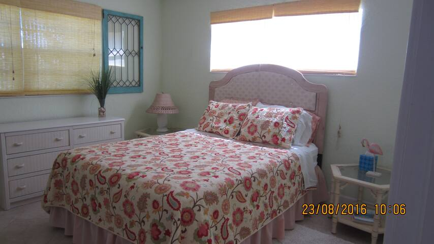 Bedroom with a queen bed, large closet and bathroom with shower