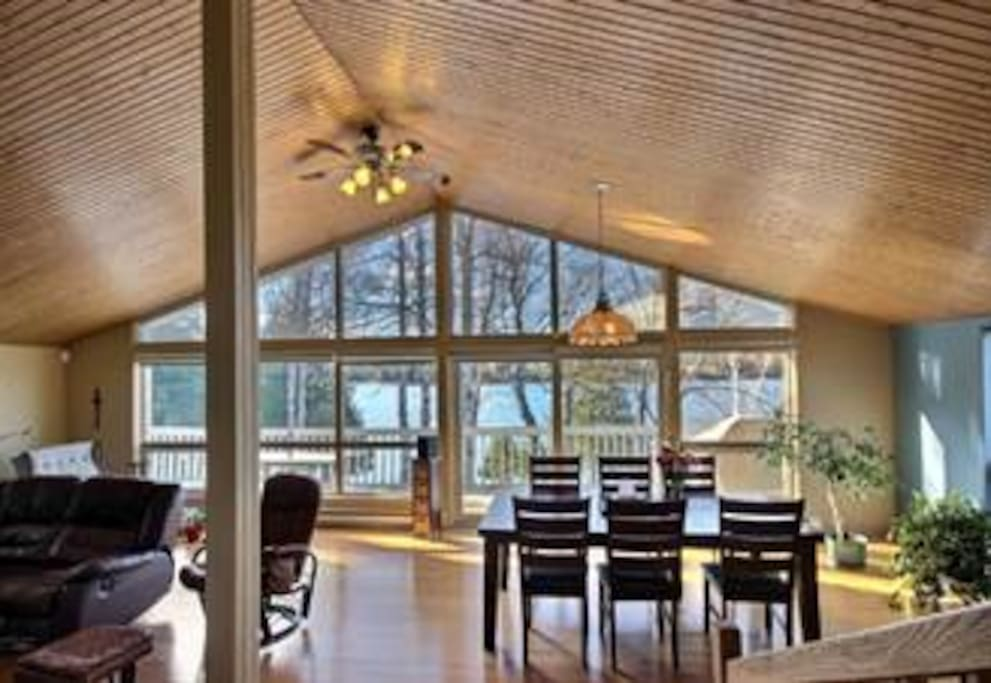 Lake view from inside, wooden floor and ceiling