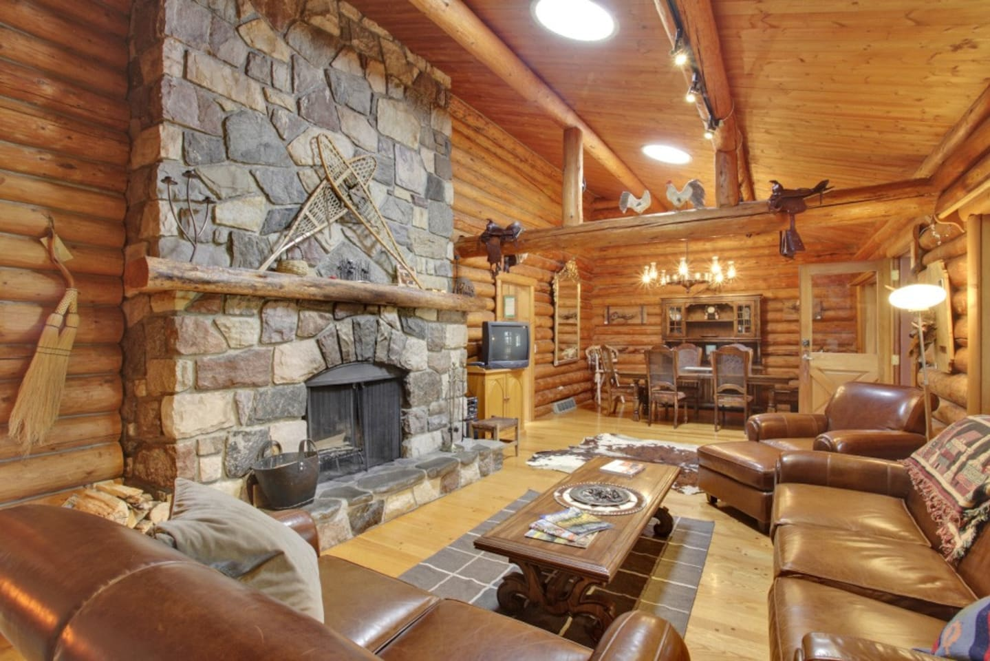 Living area with stone fireplace