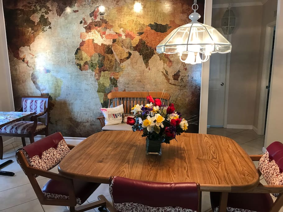 Large World Map in kitchen area for proud world guests showing where they came from.