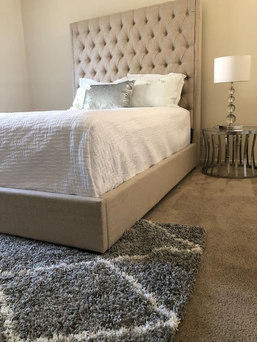 Luxury Master Bedroom.  Stylish bed with comfy atmosphere. Lots of Closet space and new decor.