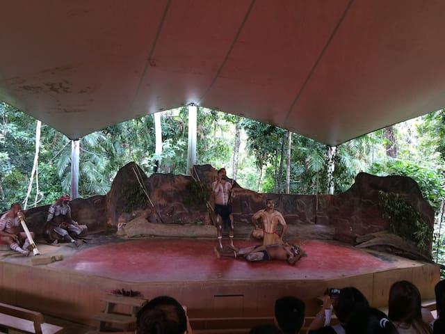 Cultural show at Rainforestation Nature Park, Kuranda, 30 minutes drive up the Range