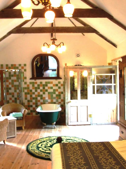 Upstairs bath and shower area