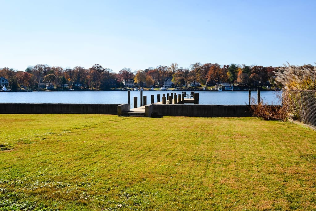 Waterfront lawn with dock